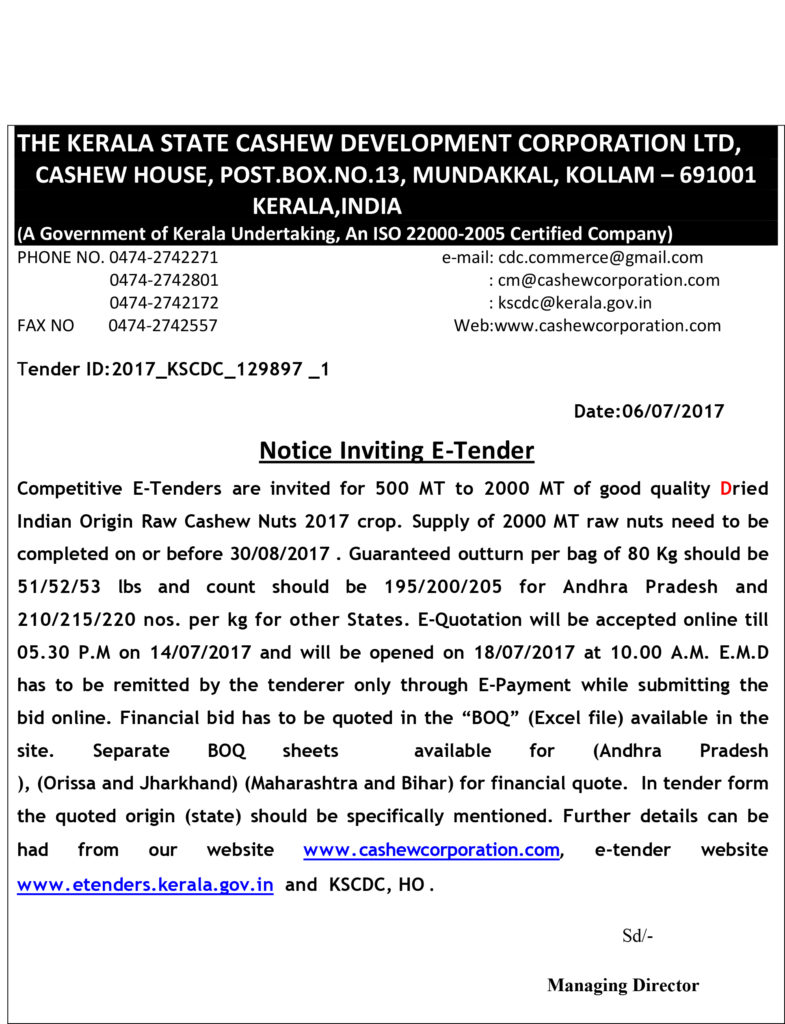 Tender for Indian Origin Raw Cashew Nut - Dried Tender ID