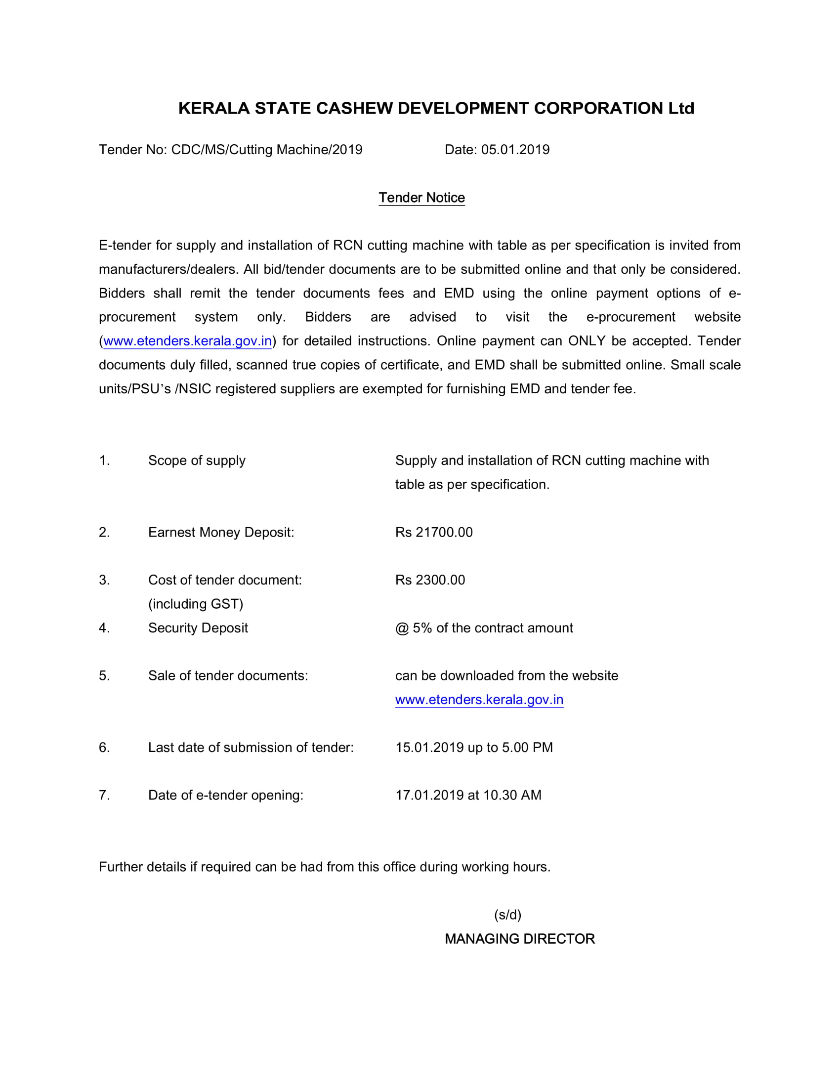 E tender for purchase of cutting machine - Kerala State